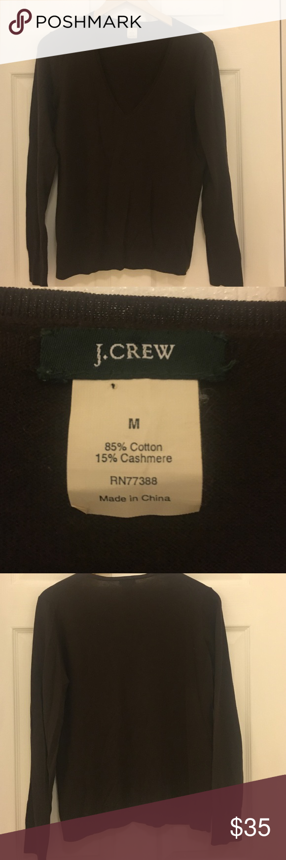 J. Crew Brown Cashmere/Cotton-Blend Sweater V neck. Dark brown. (Cover shot shows the navy sweater) Great layering piece in perfect condition. J. Crew Sweaters V-Necks