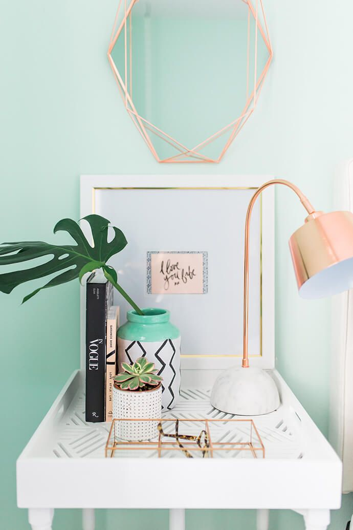 Rose gold and aqua design decor inspiration for Room decor ideas rose gold