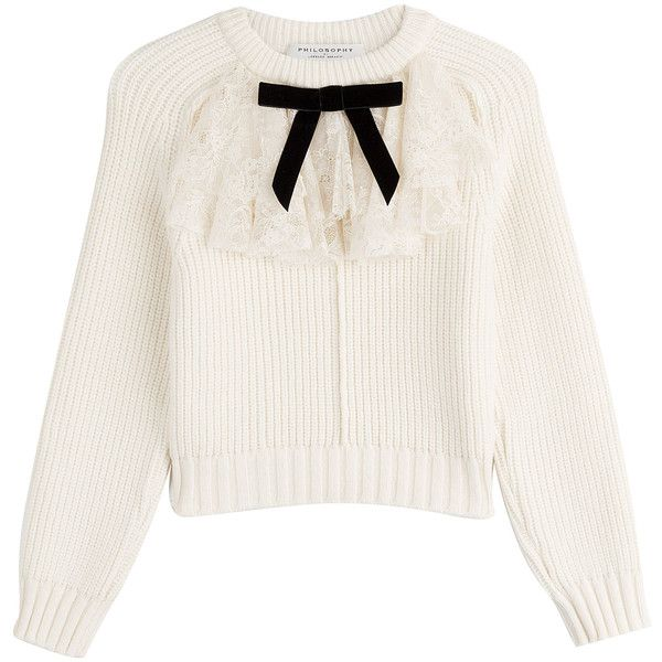 Philosophy di Lorenzo Serafini Pullover (£349) ❤ liked on Polyvore featuring tops, sweaters, beige, white top, lace top, cream sweater, lace sweater and bow sweaters