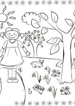 Раскраска Девочка на тропинке, скачать и распечатать ...