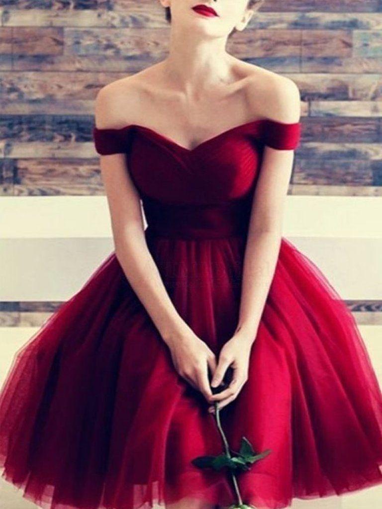 ce6f695f113 Custom Made Off Shoulder Short Burgundy Prom Dresses