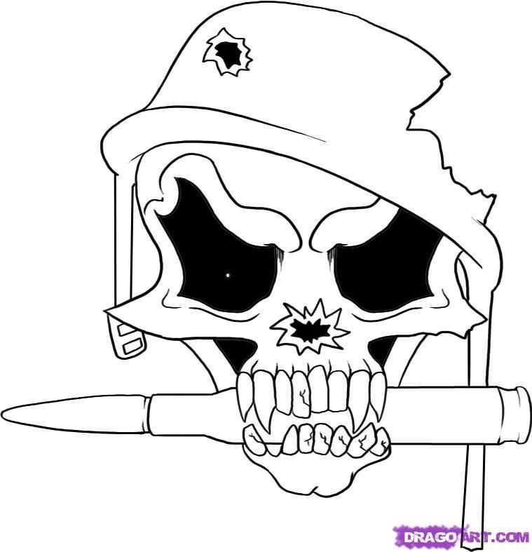 Easy Drawings Step by Step scull | how-to-draw-a-soldier-skull ...
