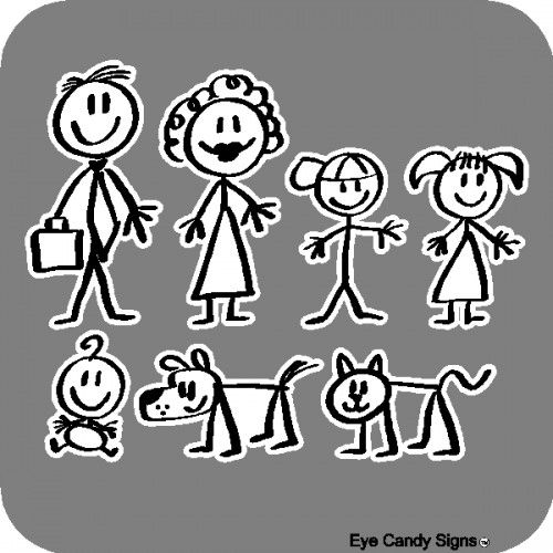 Stick People Family Car Decals Stickers LETTERS Pinterest - Family car sticker decalsbest silhouette for the car images on pinterest family car