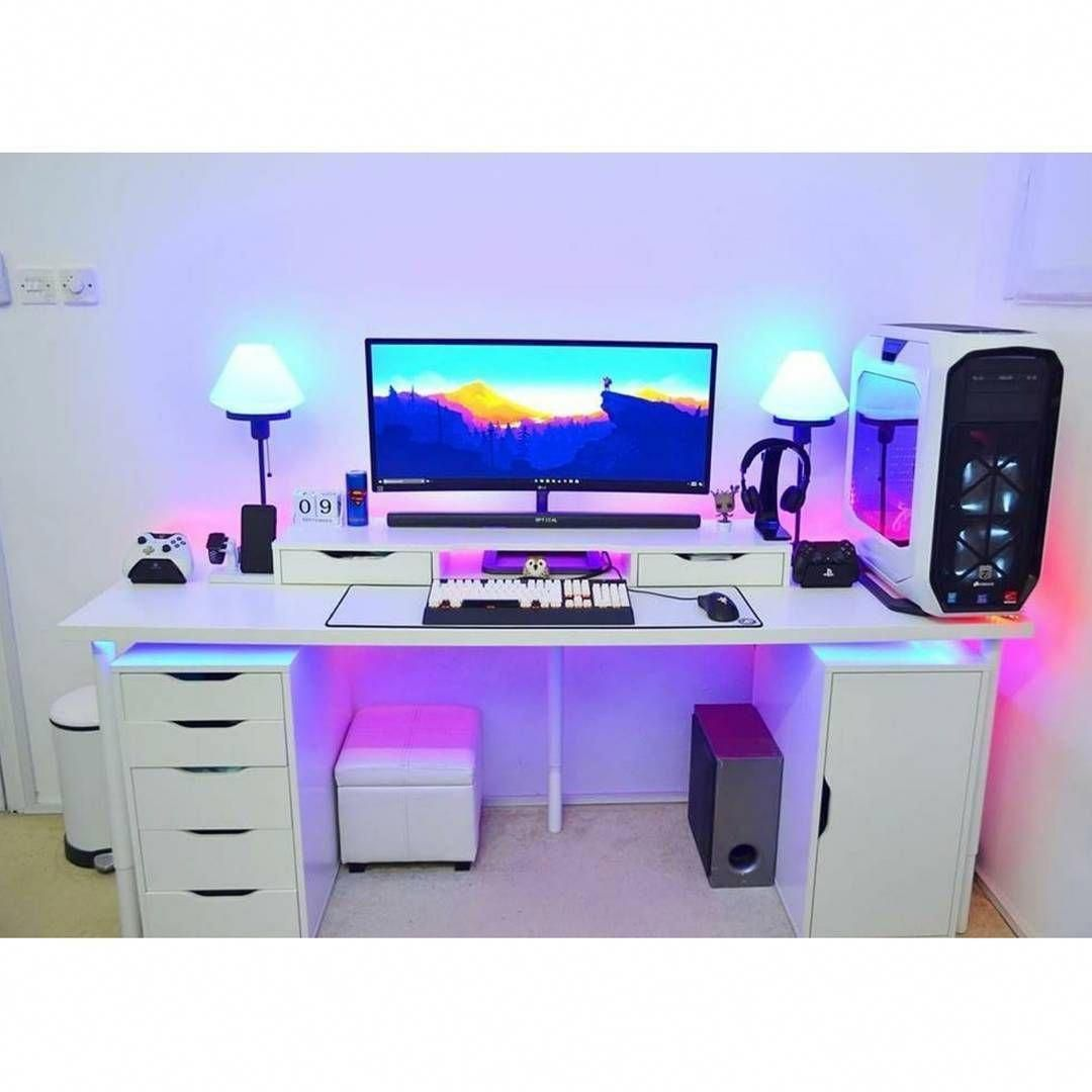 Alcoholic Gaming Computer Desk Ikea Gamingrig Computergame Gamingcomputersightwords Video Game Rooms Game Room Game Room Design