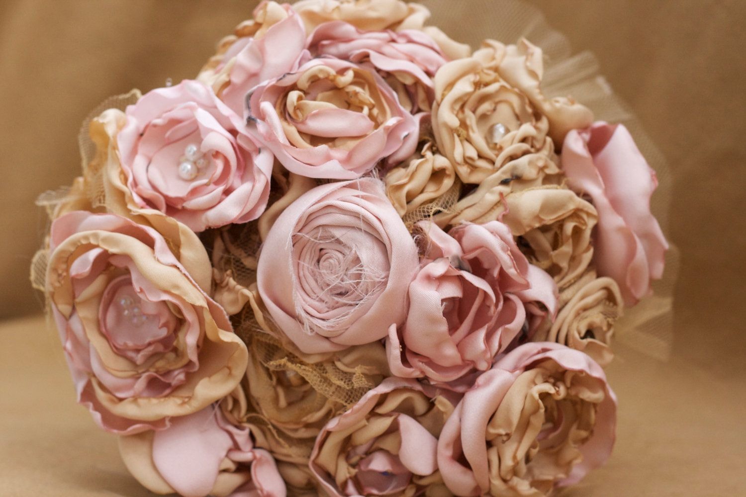 Pink gold fabric flower bouquet champagne rose tulle for Gold flowers for wedding bouquet