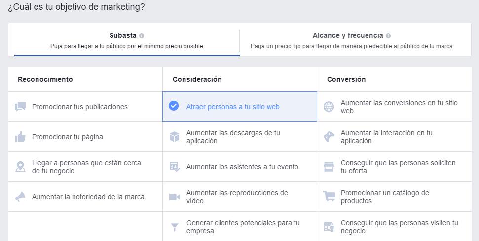 Resultado de imagen para objetivos facebook ads