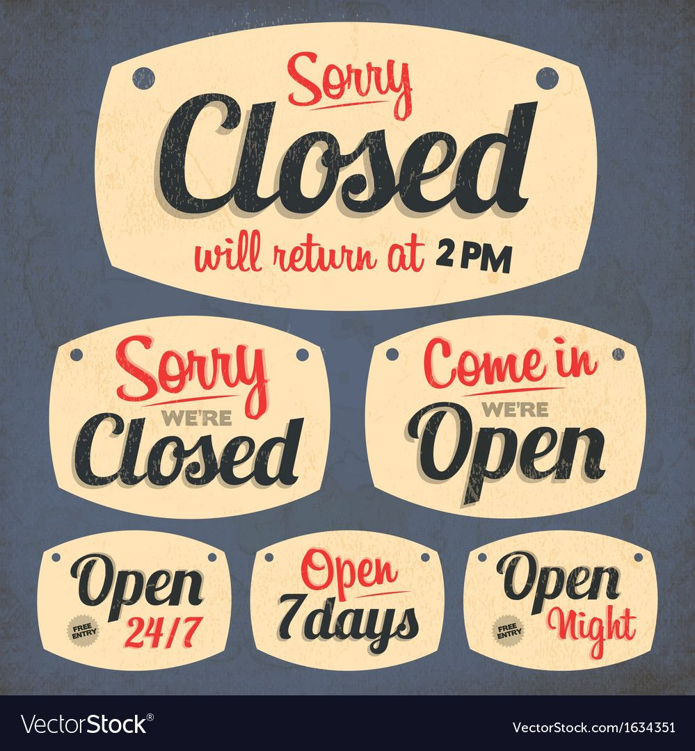 172retro Vintage Open Closed Sign Collection Vector Image Aff Vintage Open Retro Closed In 2020 Open Closed Signs Vintage Happy New Year Vintage Template
