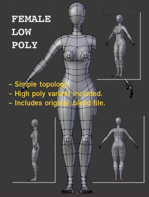 female low poly topology