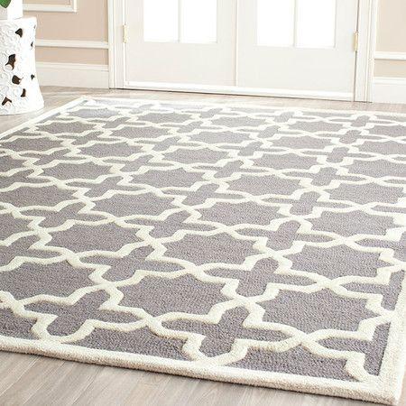Heath Geometric Cobalt Blue Area Rug Grey Wood Floors