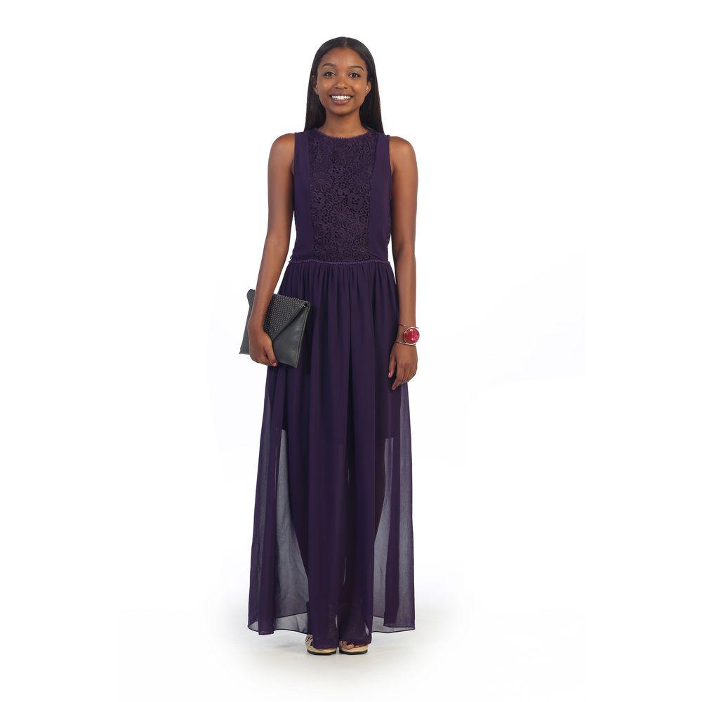 3eb400458ca3e Hadari Women's Purple Chiffon Overlay Maxi Dress | Overstock™ Shopping -  Top Rated Casual Dresses