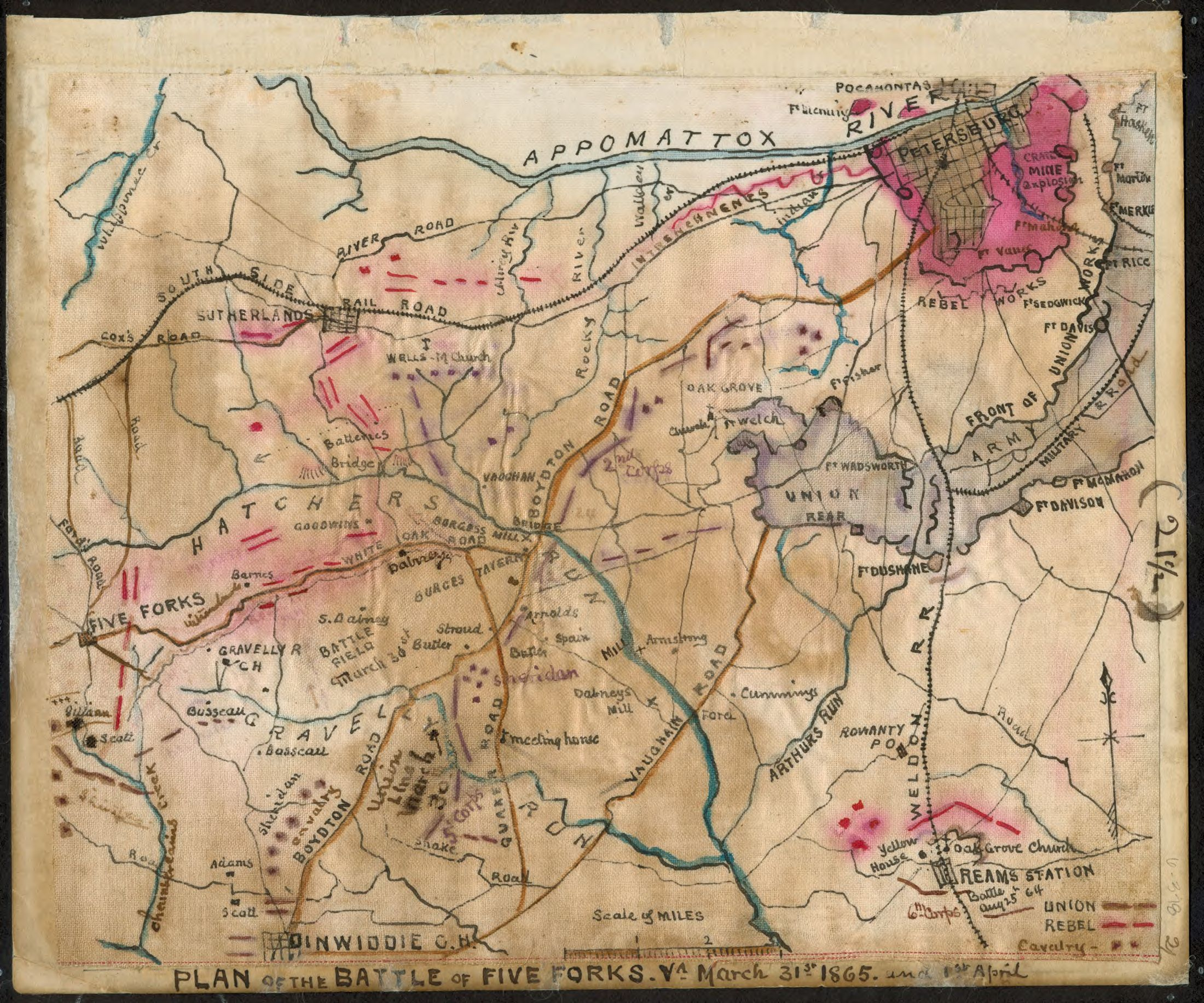 Plan Of The Battle Of Five Forks Va March 31st 1865 And