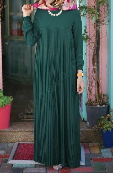 Piliseli Robali Elbise Acik Yesil Tesettur Tukenenler Suhneva Elbise Islami Giyim Elbise Modelleri