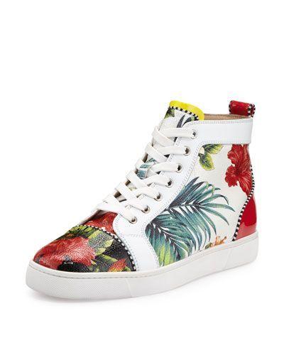 f409a2ce352 CHRISTIAN LOUBOUTIN Louis Floral-Print High-Top Sneaker, White ...