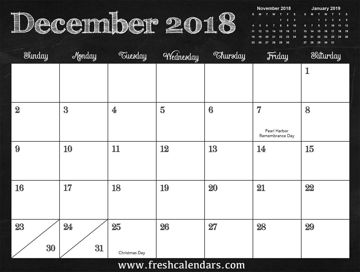 Blank December 2018 Calendar Printable Monthly Template