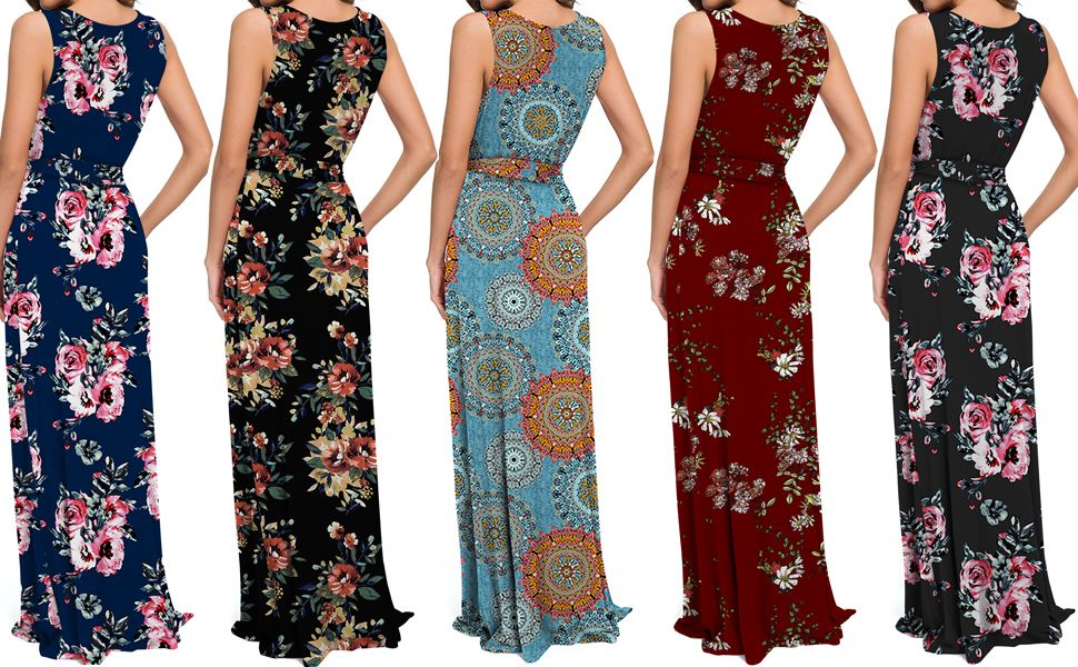 Amazon.com: POKWAI Women Bohemian Printed Sleeveless Maxi Dress Casual Long  Dress Beach Dress: Clothing