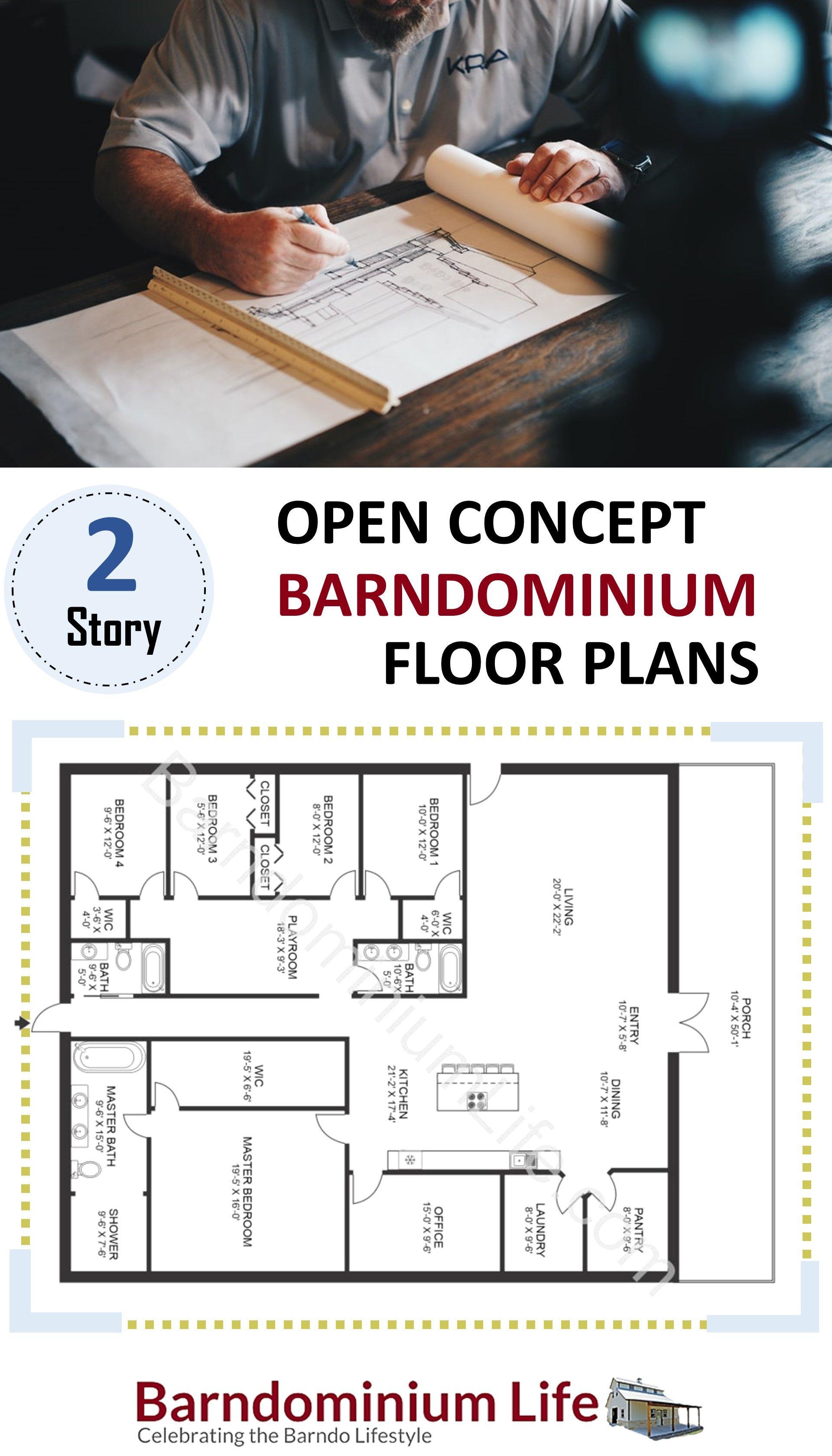 2 Story Open Concept Barndominium Floor Plans