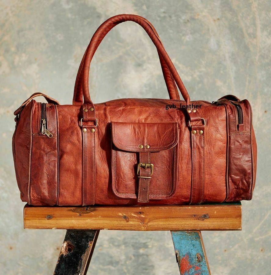 Bag Goat Leather Duffle Men Travel Gym Luggage Genuine Brown New S Vintage New