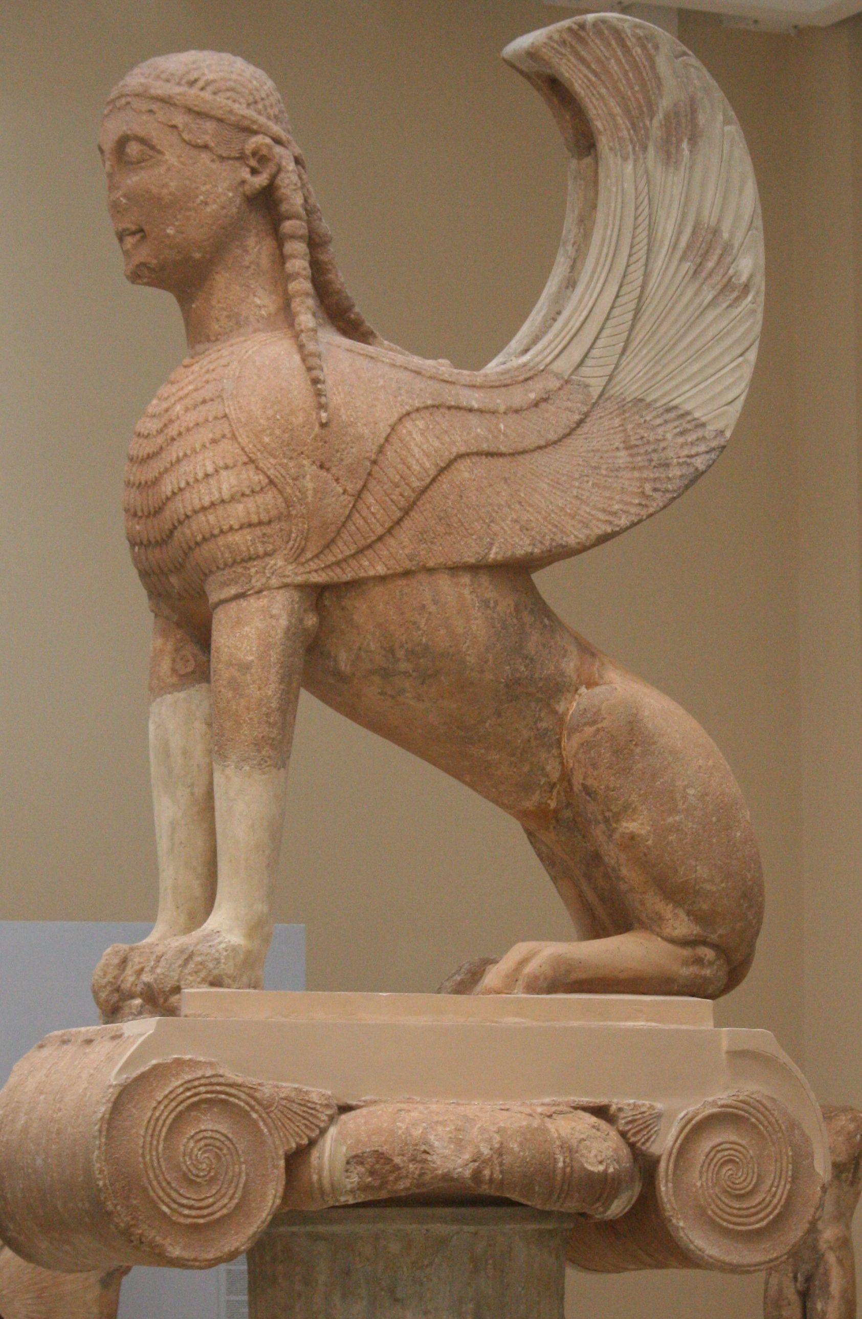 The Sphinx Of Naxians Atop Its Ionic Capital Ca 560 B C Delphi Archaeological Museum Greece 2011 Altgriechische Kunst Antike Skulpturen Archaologie