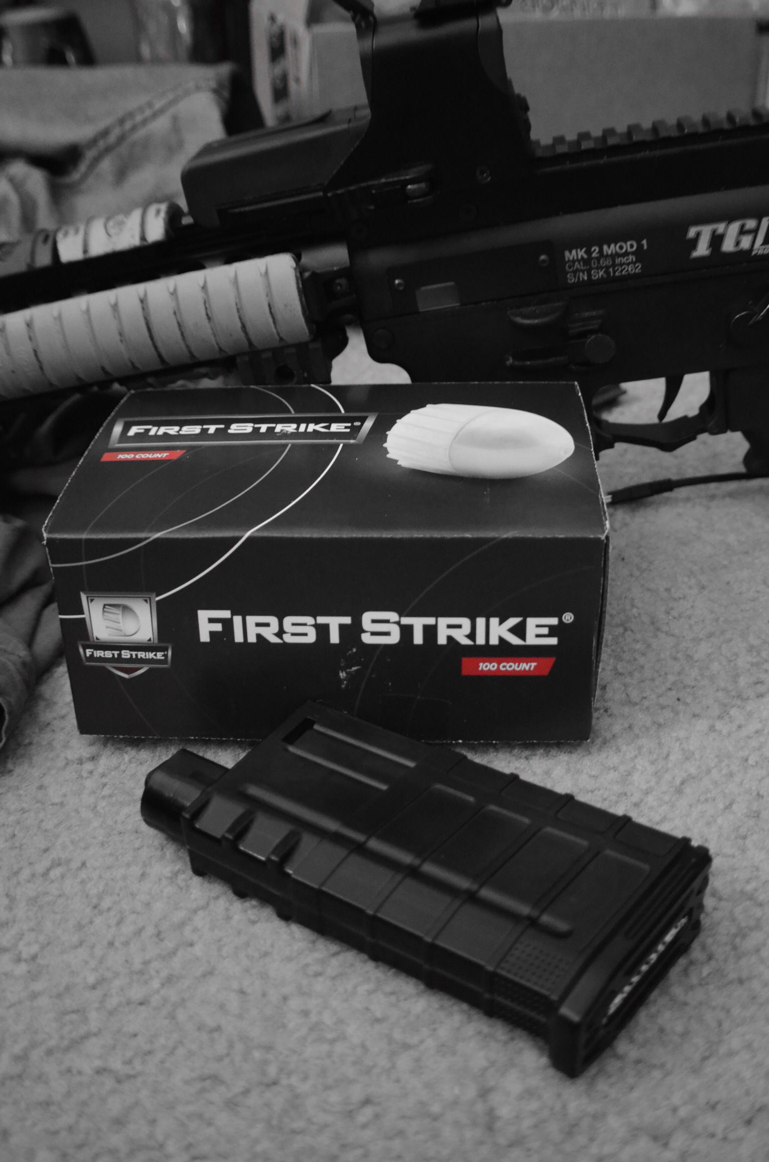First strike rounds ready for use! Paintball gear