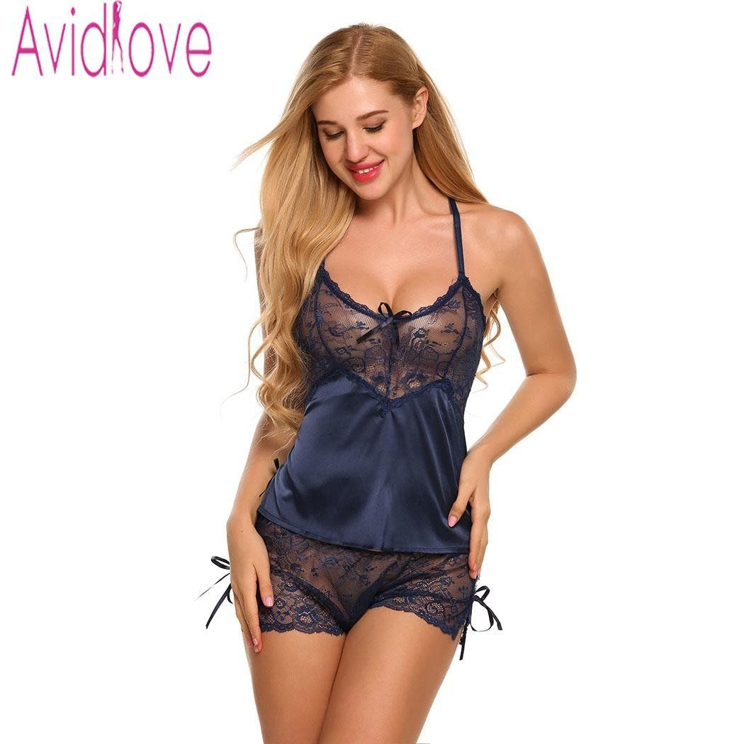 586e5e38ab Gender  Women Item Type  Pajamas Material Composition  Satin and Lace  Season  Summer Brand Name  Avidlove Sleeve Length(cm)  Sleeveless Length   Shorts ...