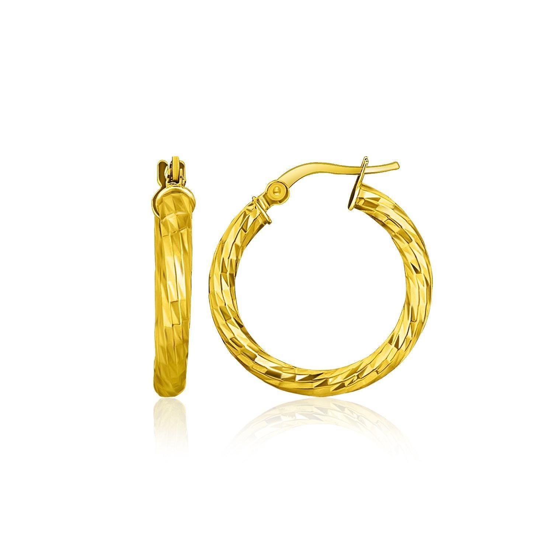 14K Yellow Gold Hoop Earrings with Diamond Cut Style