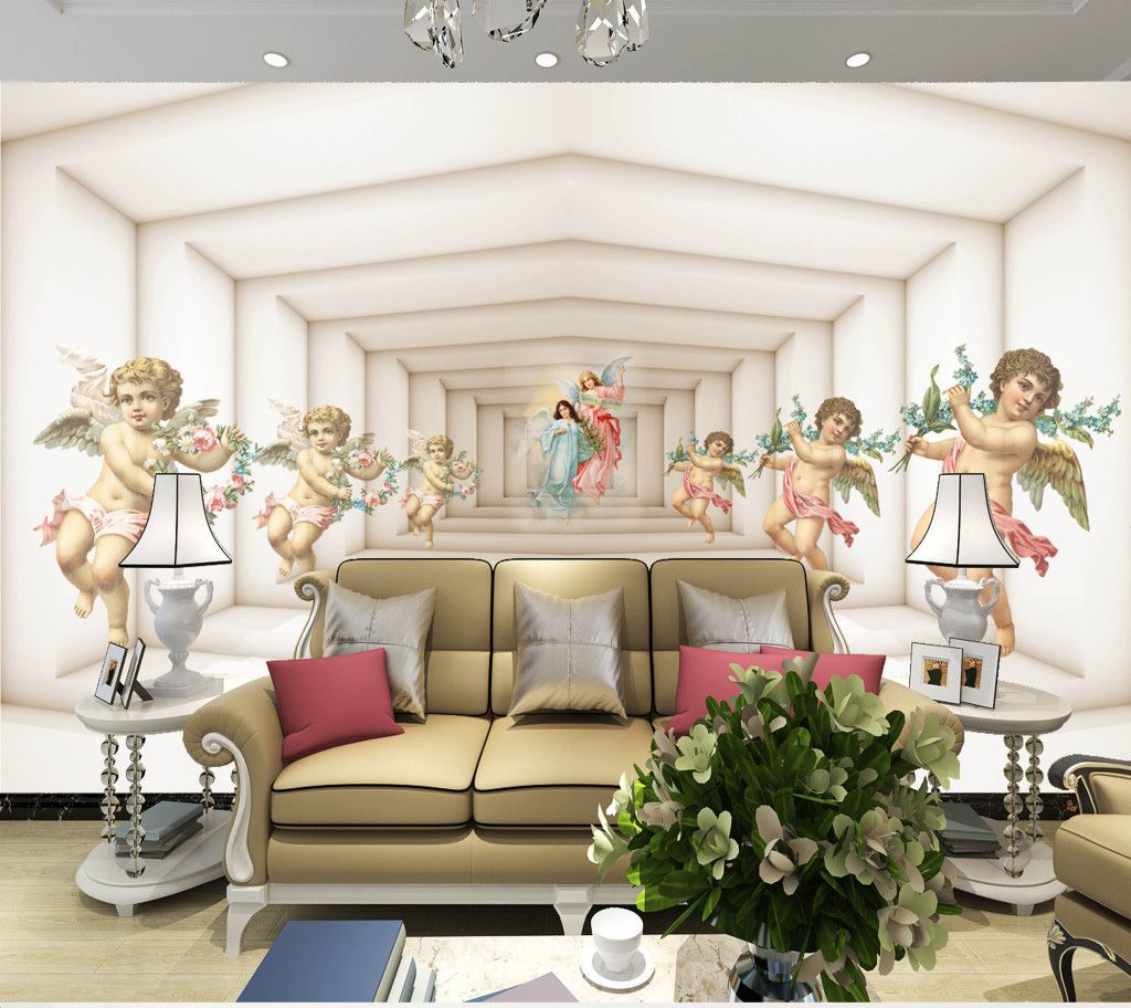 Shinehome Large Custom European 3d Angels Wallpapers Wall Murals Contact Paper Living Room Bedroom Wallpap Living Room Bedroom Wallpaper Bedroom Wall Wallpaper