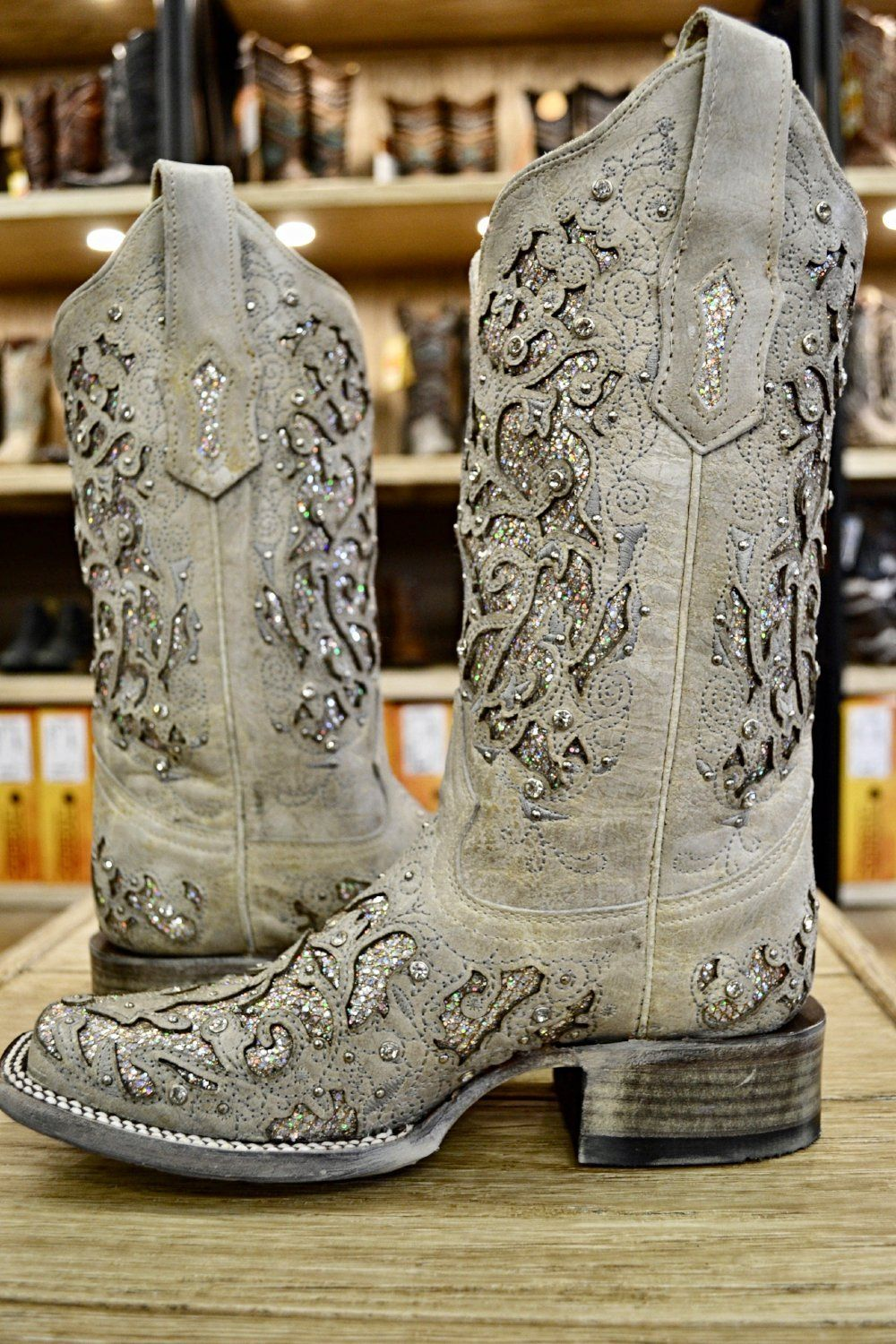 6abd14f519a Corral Ladies White Glitter Inlay & Crystal Square Toe Boots A3397 ...