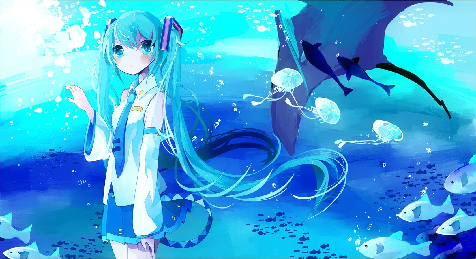 Vocaloid Hatsune Miku Fish Tie Skirts Long Hair Mantis