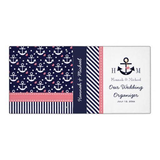 Monogrammed Navy Blue Pink Anchor Wedding Planner Binder