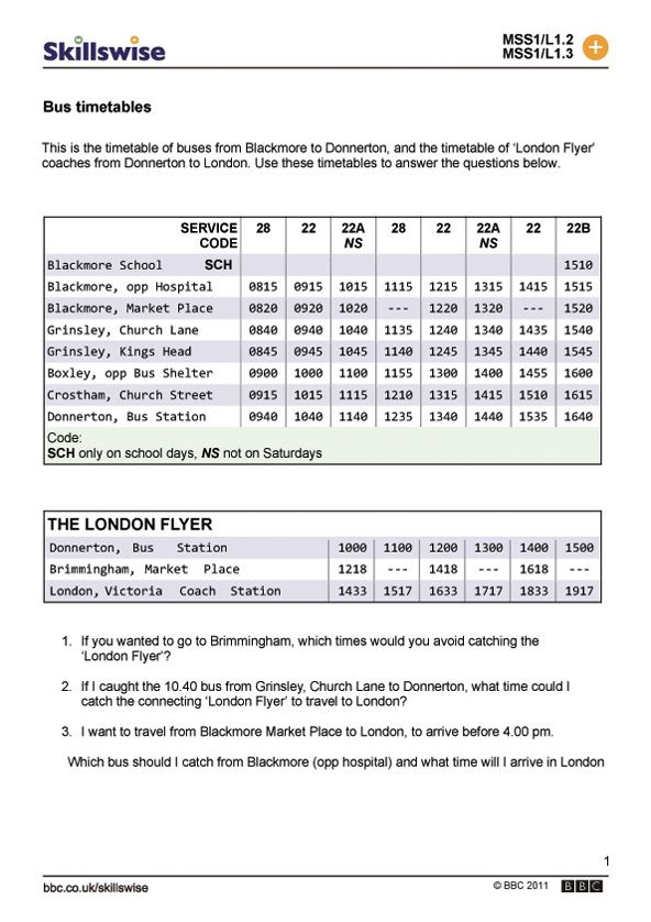 Bus timetable activity sheet Time and date worksheet preview – Market Math Worksheets