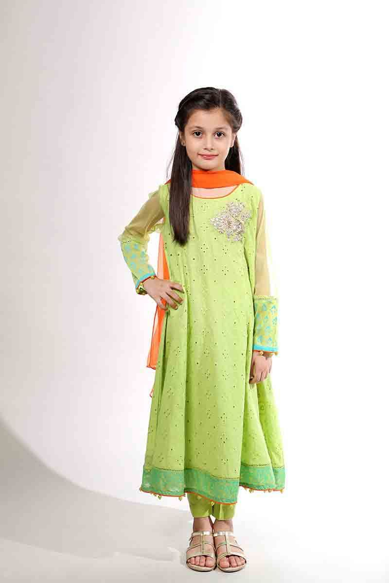 Light green long frock with orange dupatta for Pakistani ...