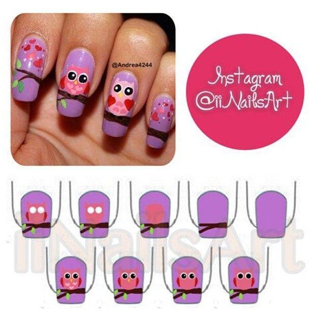 Owl nails|| credit: @Andrea Avalos - iinailsart @ Instagram Web ...