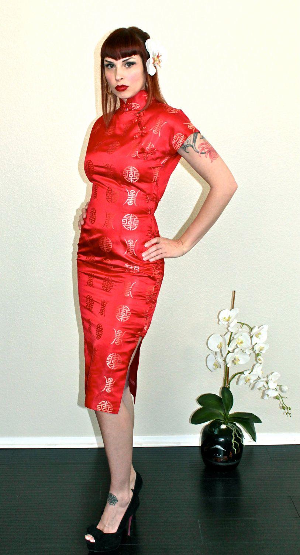 Cheongsam/ Chinese Dress, Viva Las Vegas GORGEOUS Late 1940\'s Silk ...