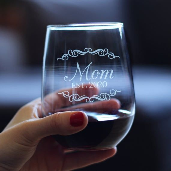 Mom Est 2020 Cute Stemless Wine Glass For New Mothers Large 17