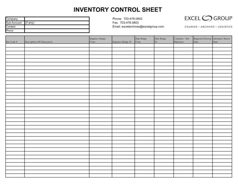 Inventory Spreadsheet Template Excel Product Tracking Business