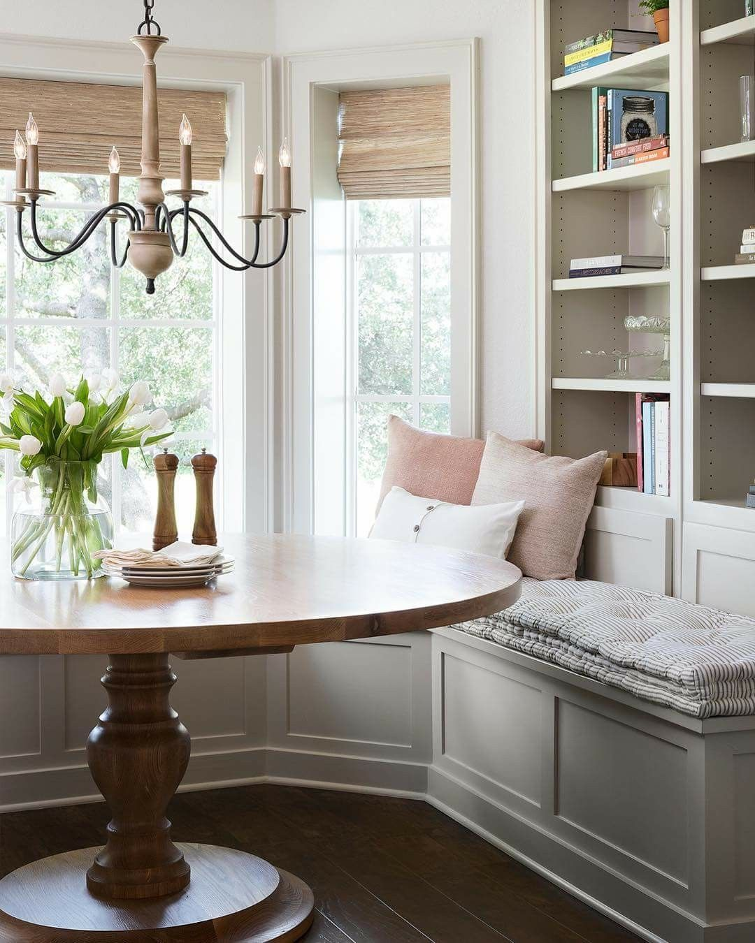 Nook Dining Room Ideas: Nook With Bookcases, Seating, And Table In 2019
