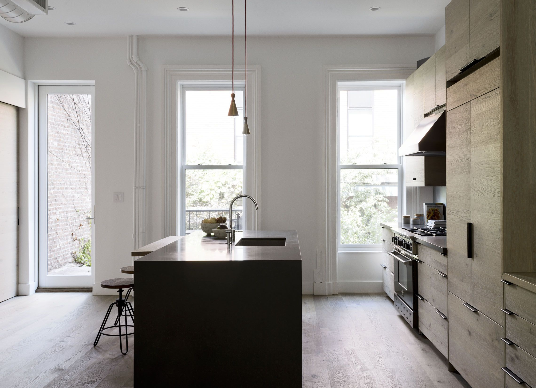 Brooklyn kitchen design with custom wood cabinets and quartzite ...