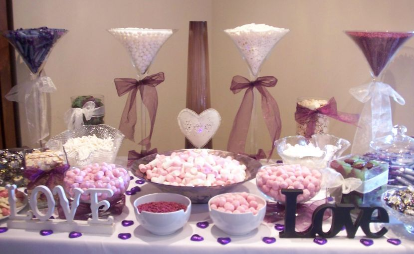 35 Purple And White Wedding Candy Buffet Ideas | Table Decorating Ideas