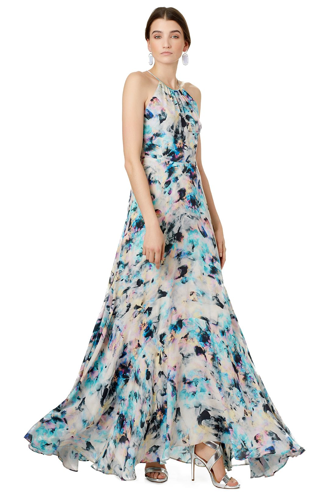 Pretty Printed Maxi Dress Semi Formal Wedding Guest Dresses