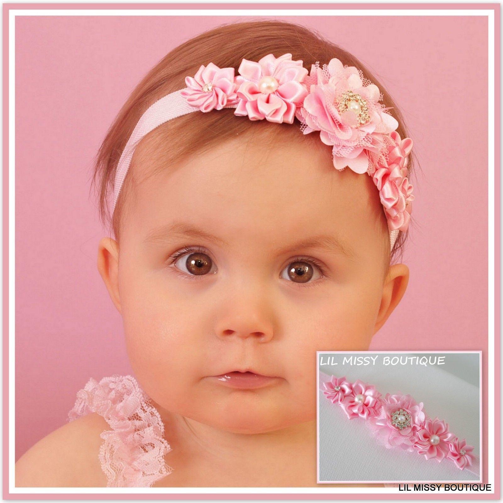 Baby headbands headband flower girl newborn toddler hair band ... 2b64a874335