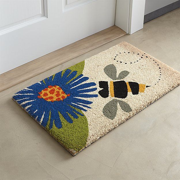 Summery Doormat Depicts A Graphic Bumble Bee Making A