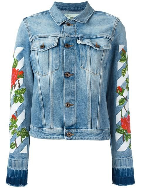 Off White Roses Embroidered Cotton Denim Jacket Blue Modesens Denim Jacket Designer Denim Jacket Off White Jacket