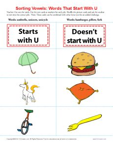 Words Starting With U Vowel Worksheets Letter Of Recommendation