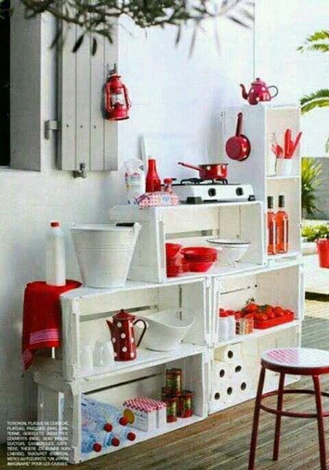 Cocina Con Guacales En 2019 Cajones De Verdura Muebles