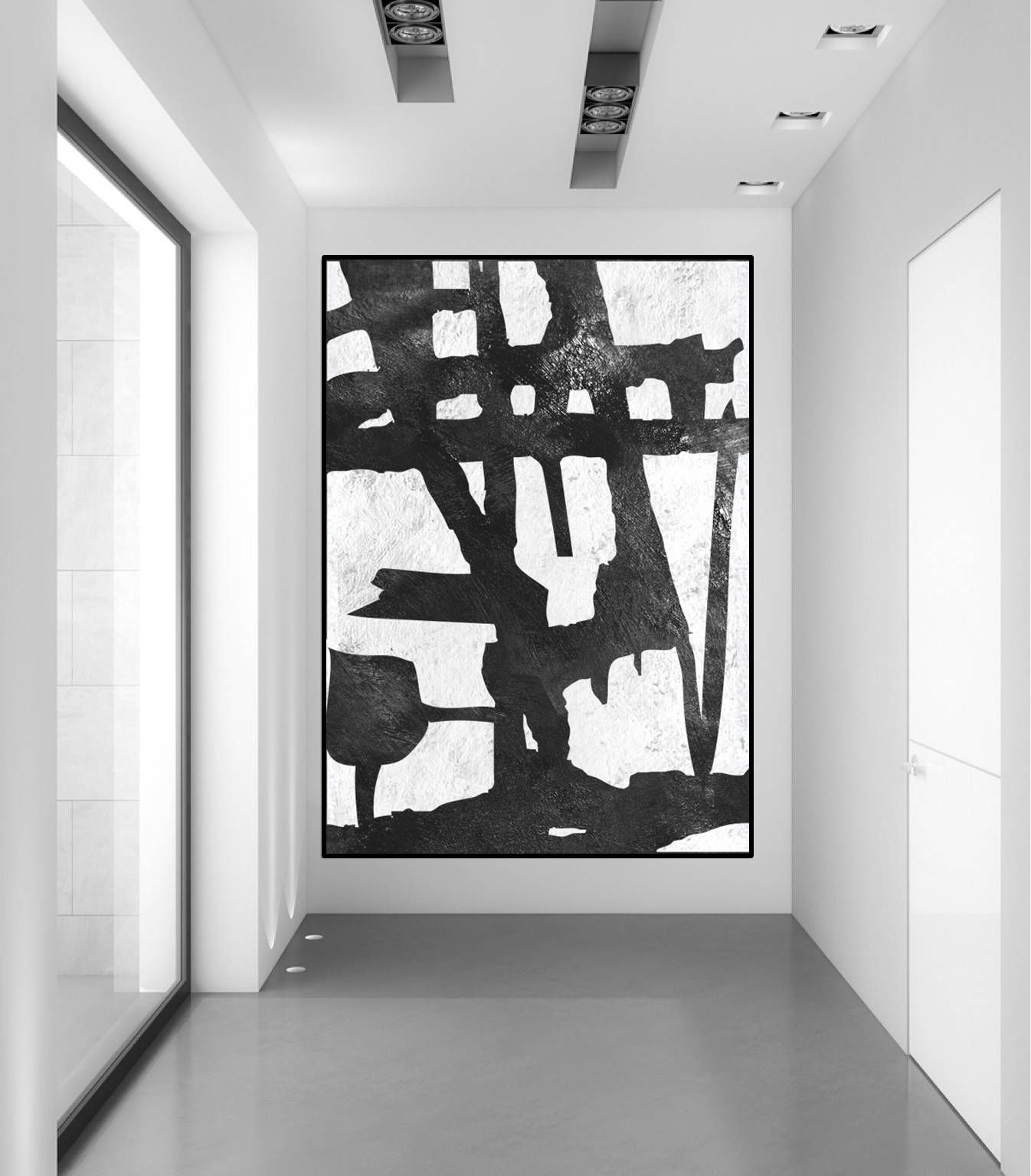 Welp Extra grote muur kunst abstract schilderij op canvas zwart-wit IT-64