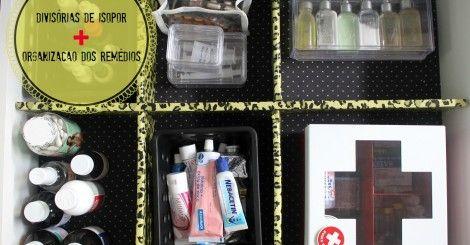 Faça Você Mesmo- divisórias de gavetas de isopor   organização dos remédios