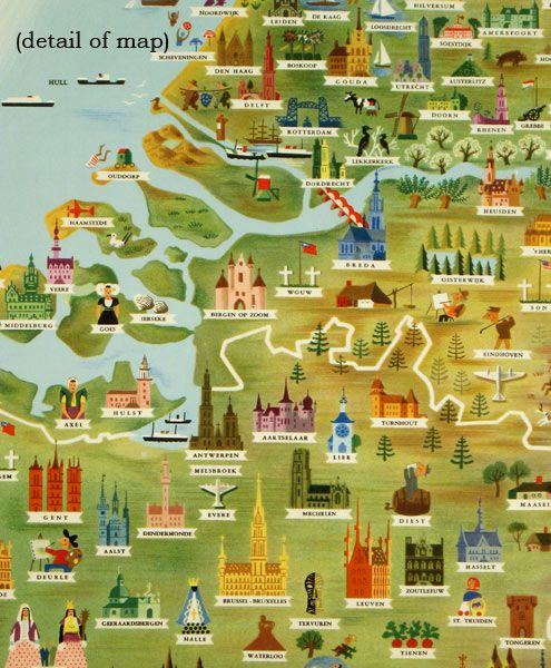 Benelux Tourist Map of Belgium Holland and Luxemburg BELGIUM