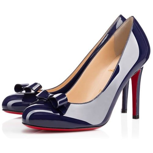 30ac13309ba Christian Louboutin Simplenodo 100mm Pumps Navy Blue Patent Leather Red  Bottom Shoes