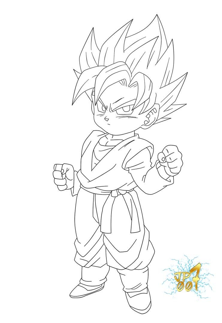 How To Draw Gotenks by Dawn | Cartoon coloring pages, Dragon ball ... | 1078x741