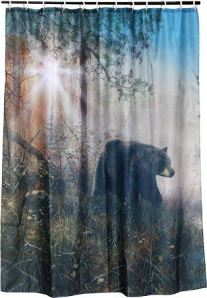 I M Thinking Of A New Bathroom Theme Black Bear Shadow Mist Shower Curtain Shower Curtain Sets Curtains With Rings Curtains
